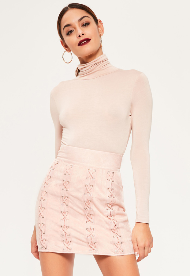 855a60cc7 Missguided Pink Faux Suede Multi Eyelet Lace Up Mini Skirt, $31 ...