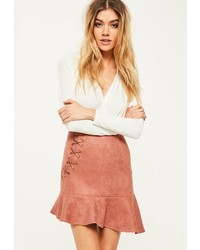 Missguided Pink Faux Suede Frill Hem Eyelet Detail Mini Skirt