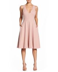 Dress the Population Catalina Tea Length Fit Flare Dress