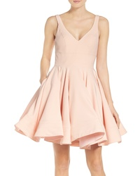 IEENA FOR MAC DUGGAL Double V Neck Fit Flare Party Dress