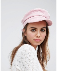 Monki Pink Cord Baker Boy Hat