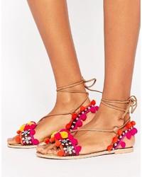 Boohoo Pom Trim Multi Strap Flat Sandal
