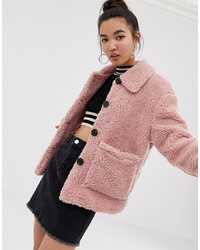 New Look Teddy Jacket With Buttons In Pink