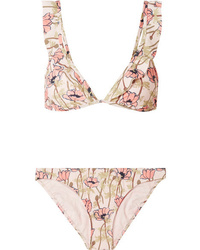 Tory Burch Ruffled Floral Print Bikini