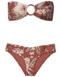Zimmermann Wayfarer Ring Embellished Floral Print Bikini
