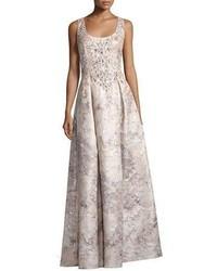 Aidan Mattox Sleeveless Beaded Floral Brocade Gown Mink