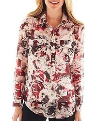 Liz Claiborne Long Sleeve Floral Blouse With Cami Tall