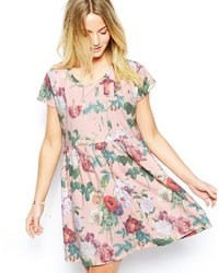 Asos Dress In Wall Flower Print Pink