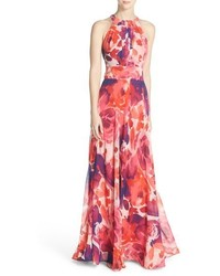 Floral print halter maxi dress medium 605400