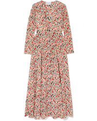 We Are Leone Floral Print Silk De Chine Robe
