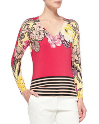 Etro Long Sleeve Floral Top W Striped Hem