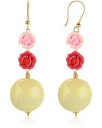 Murano House Of Rose Glass Drop Earrings
