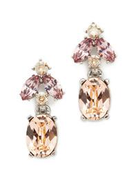 Oscar de la Renta Floral Navette Small Drop Earrings
