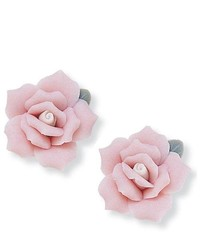 PalmBeachJewelry.com Flower Shape Ceramic Rose Stud Earrings