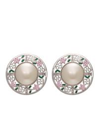 Jiwinaia Pink 69 Floral Disc Earrings