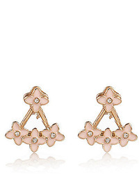 River Island Pink Pretty Flower Front And Back Earrings