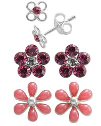 Sterling Silver Crystal Flower Stud Earring Set Kids