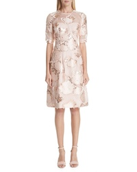 Lela Rose Holly Floral Fil Coupe Fit Flare Dress