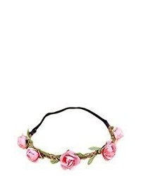 Hippie Love Pink Flower Garland Crown Festival Wedding Hair Wreath Boho Floral Headband