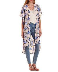 Charlotte Russe Floral Print Duster Kimono