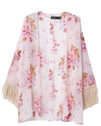 ChicNova Floral Print Tassels Kimono
