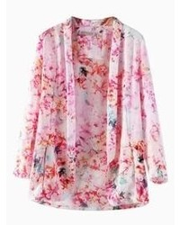 Choies Pink Floral Lapel Kimono Coat