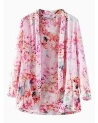 Choies pink floral lapel kimono coat medium 64271