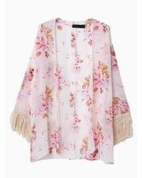 Choies pink sunscreen floral chiffon kimono coat with tassels medium 64270