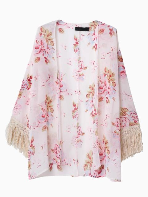 Choies Pink Sunscreen Floral Chiffon Kimono Coat With Tassels