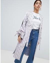 LOST INK Kimono Jacket With Split Sleeves In Jacquard Multi