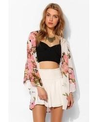 Reverse Sheer Chiffon Floral Kimono Jacket