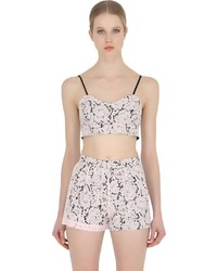 MSGM Cropped Floral Lace Bra Top