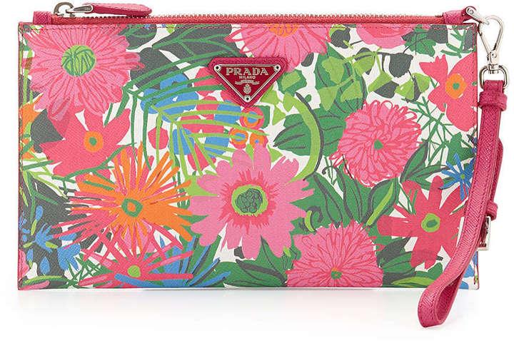 da8735f5fca33a ... Pink Floral Leather Clutches Prada Floral Print Saffiano Wristlet Multi  ...