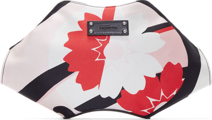 d3a829252 ... Floral Leather Clutches Alexander McQueen Pink Red Kite Print Small De  Manta Clutch ...