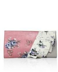 Ruffled floral leather clutch medium 3702410