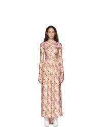 Paco Rabanne Pink Printed Long Sleeve Dress