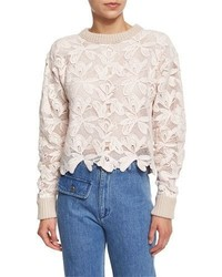 See by Chloe Floral Mesh Pullover Sweater Powder