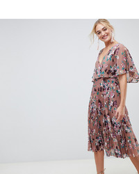 Asos Tall Asos Design Tall Flutter Sleeve Midi Dress With Pleat Skirt In Floral Print