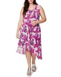 Plus size rachel asymmetrical floral midi dress medium 3723067