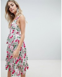 Missguided Premium Rose Embroidered Tiered Midi Dress