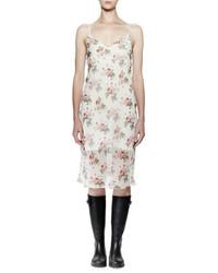 Saint Laurent Sleeveless Floral Print Midi Slip Dress Rose