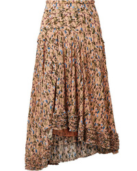 Chloé Asymmetric Pintucked Floral Print Tte Skirt