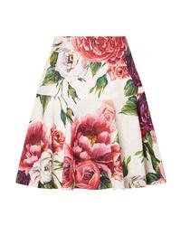 Dolce & Gabbana Floral Print Cotton Blend Jacquard Mini Skirt