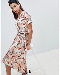Vila Floral Satin Kimono Wrap Dress With Piping Detail