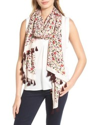 Kate Spade New York Floral Tassel Oblong Scarf