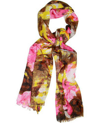 Saachi Watercolor Floral Scarf Deep Blue Scarves