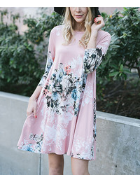 Dusty pink floral shift dress medium 3674547