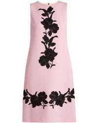 Floral appliqu wool crepe dress medium 3674549