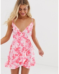 New Look Printed Wrap Dress In Pink Tie Dye