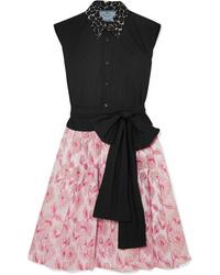 Prada Cotton Poplin And Metallic Brocade Mini Dress